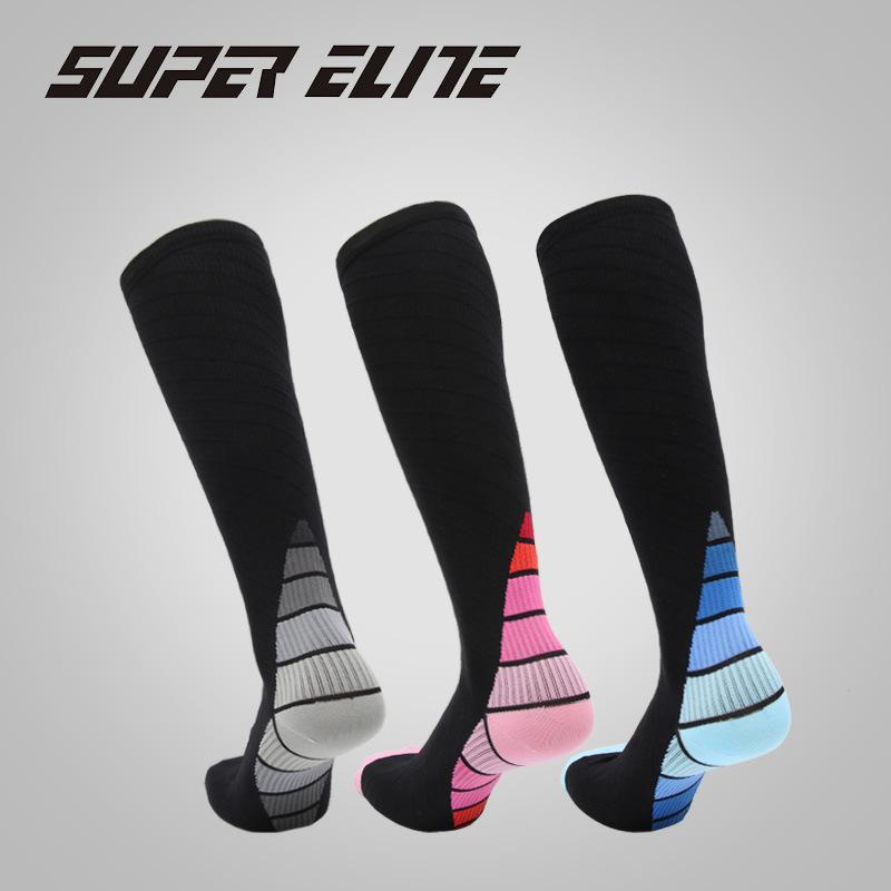 Gradiente de cor Correndo Compression Socks equitação Meias Homens maratona Legguard Pressão Meias Calf Homens