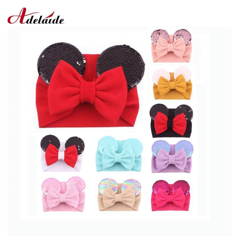 "5"" Mouse Ears Hairband Christmas Headband Big Bow Fish Scale Sequins Headband Elastic Flannelette Bows Hairband Hair Ornament oGaQ#"