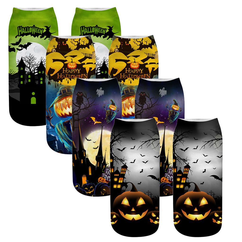 4 пары Low Cut носок мужчины и женщины Нового Halloween Pumpkins Ракетка вскользь платья носки