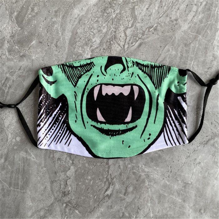 Взрослый Череп маска Смешные Многоразовые 3D Картина тыквы Grimace Cotton маска многоразового Защитный Filters маска для лица моющийся