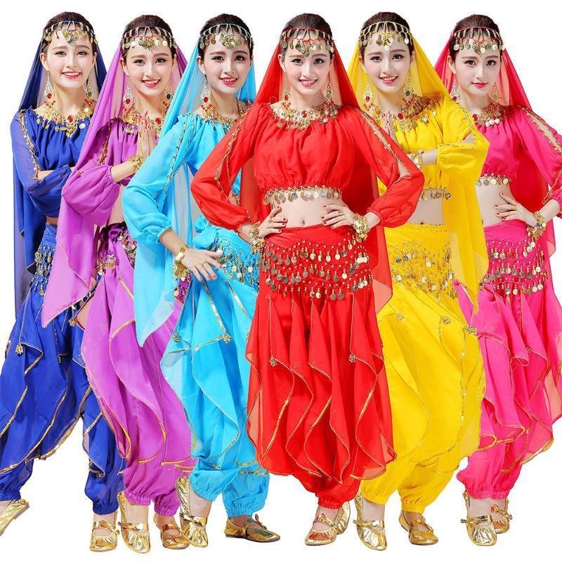 Muticolor Adulto Belly Dance Costume Set 2020 Verão Índia Vestuário Tops e calças azuis Red Saias Stage Desempenho Dropshiping