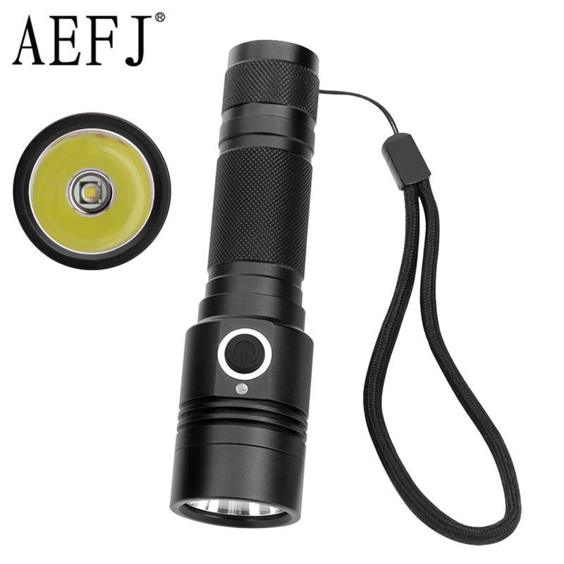 Lanternas Tochas AEFJ LED 18650 XML-T6 High Power 1100LM Lâmpada Tocha Luz potente de acampamento impermeável