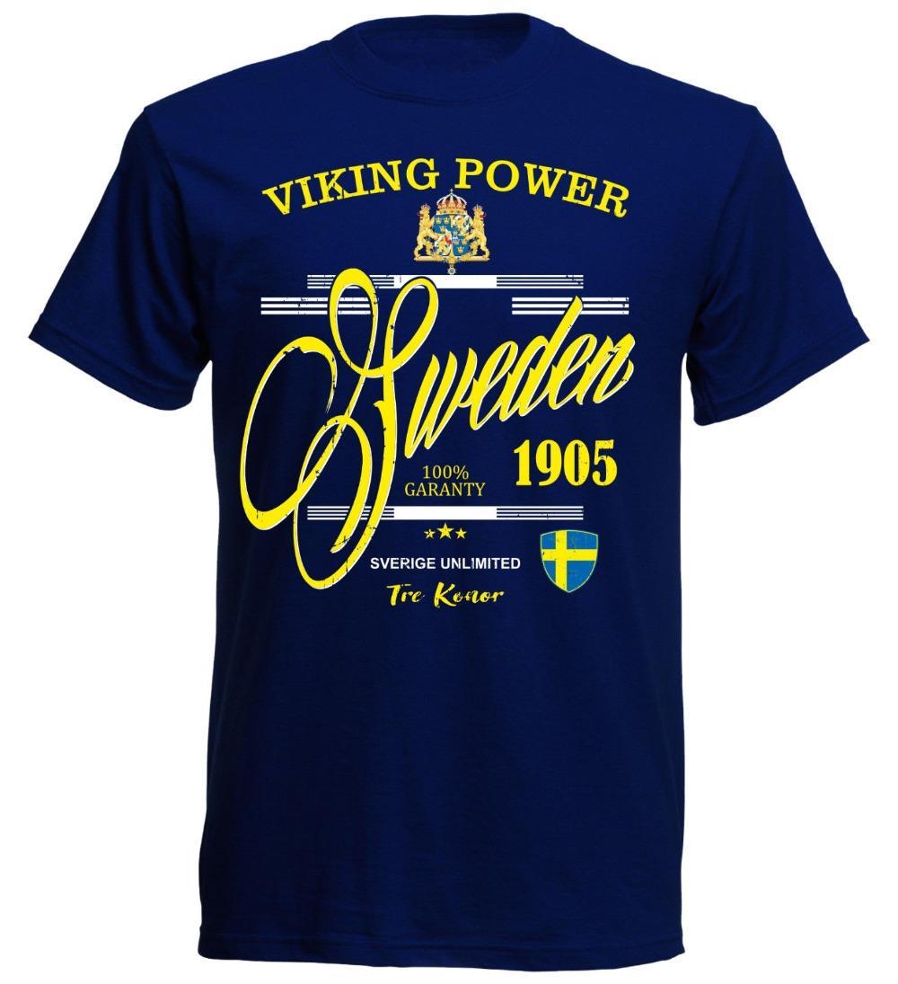 Hommes T-shirt 2020 Mode d'impression à manches courtes Vêtements Footballeur T-shirt Schweden marine Futbol 2020 Footballeur Sverige T-shirt