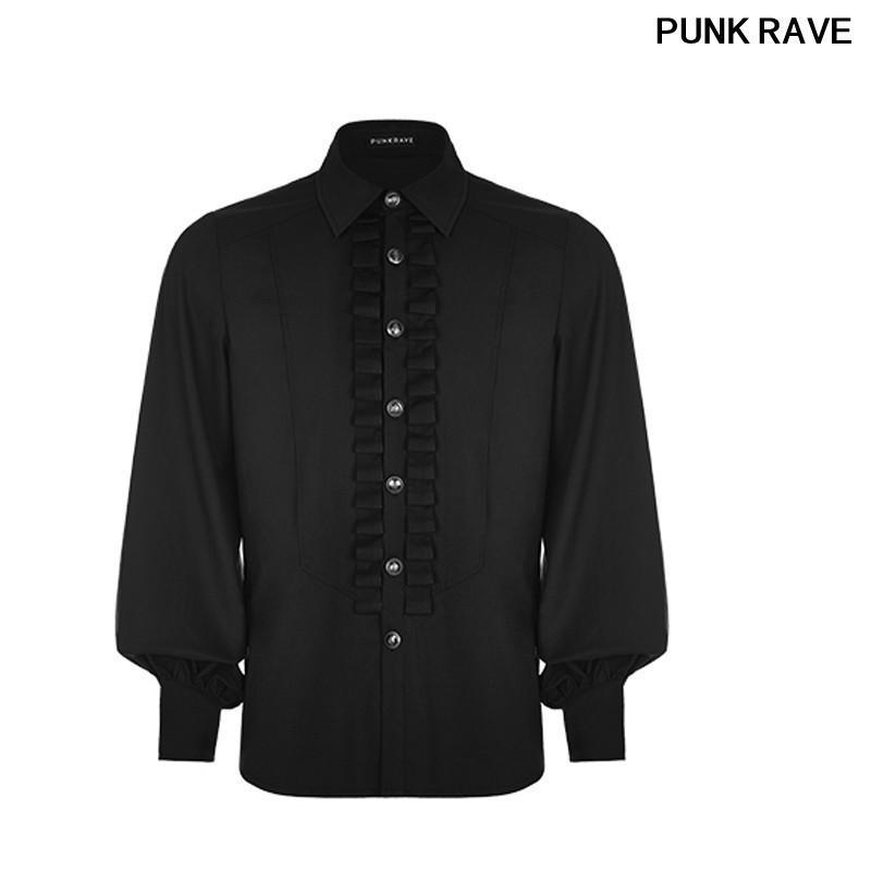 Gotik Fener Kollu Pileli Fırfır Erkekler Gömlek moda Desen Düğme Elastik olmayan Balıksırtı Dokuma bluz PUNK RAVE WY-846CCM