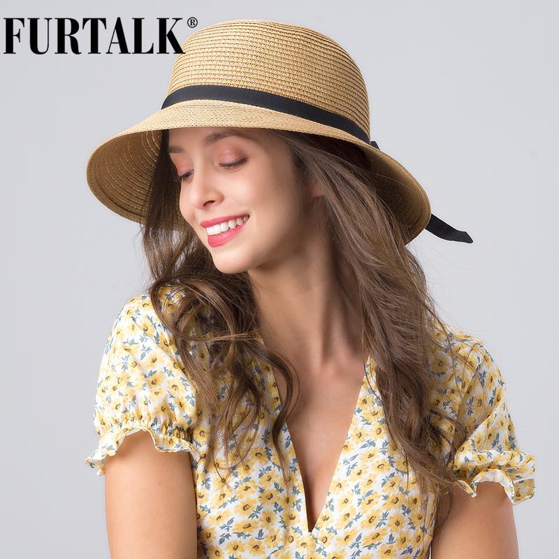 FURTALK sombrero de paja de verano para mujer Sombrero de sol para mujer playa de sombreros de ala ancha Cap poco voluminoso UPF UV para viajes chapeu feminino T200715