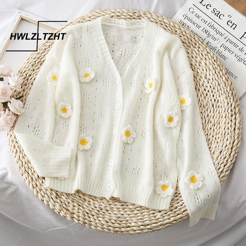 HWLZLTZHT Summer Cardigans For Women Flower Women's Sweaters Hollow Out Cashmere Coat Plus Size Jacket knitting Womens Clothing