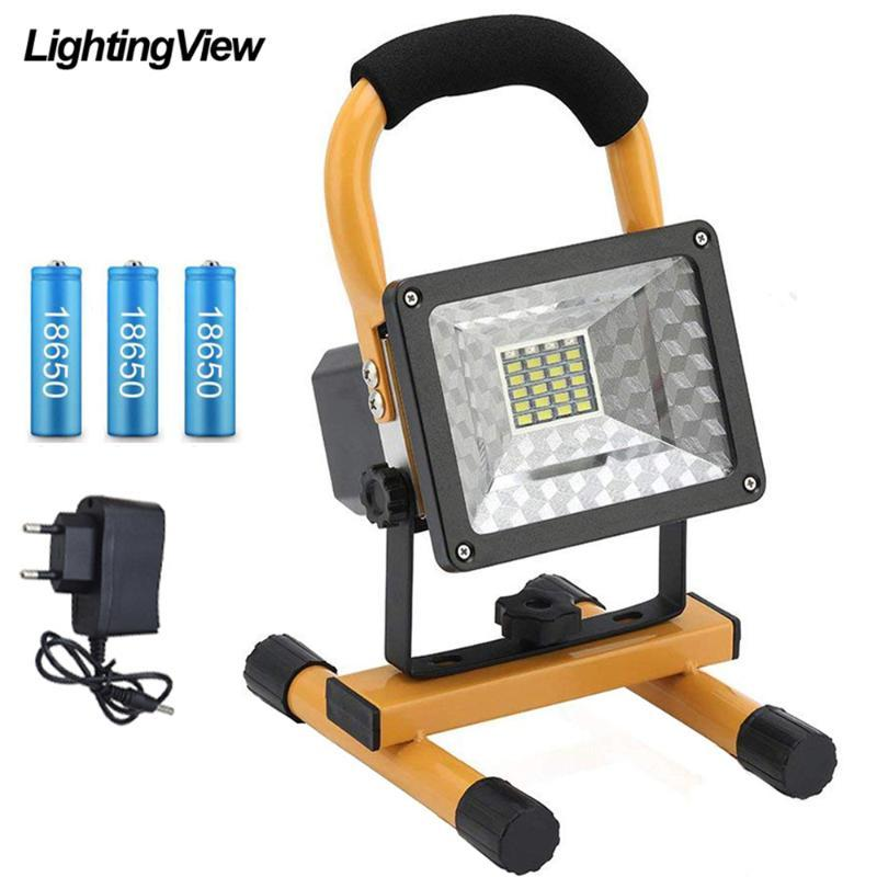 Spotlight 30W LED Outdoor Spot Light handhel Riflettori ricaricabili COB Camping Searchlight Lanterna Giardino Construct lampada