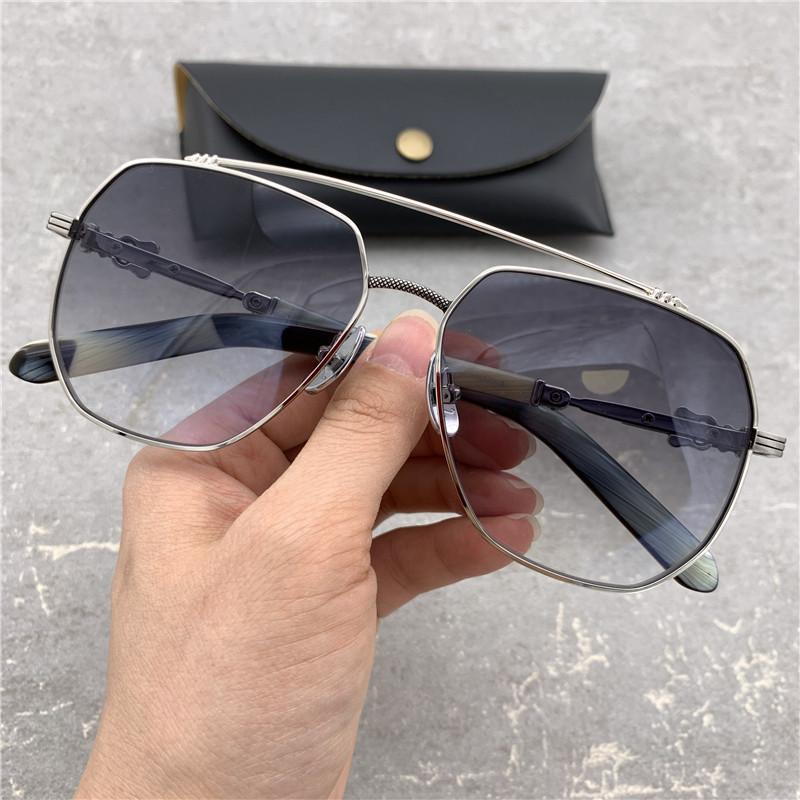 Lentes de Moda Oversized Sunglasses Grey Homens Polígono Sunglasses frame grande óculos de sol para homens Marca condução óculos de sol com caixa original