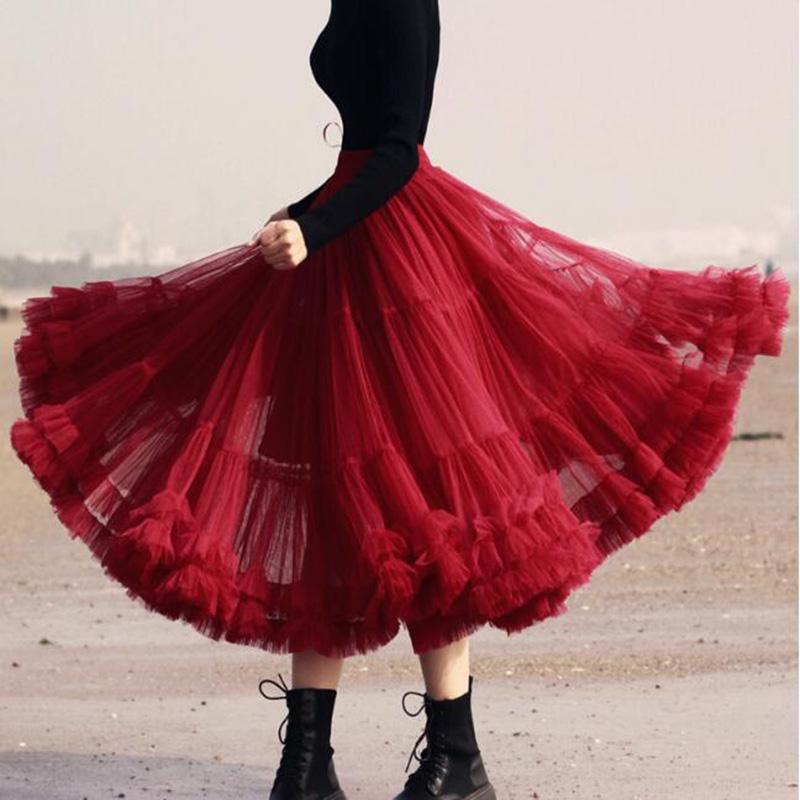Eleganter Charme Burgund knielangen Tüll Röcke für Frauen elastische Taille Puffy Tutu Weiblich Erwachsener Saias nach Maß