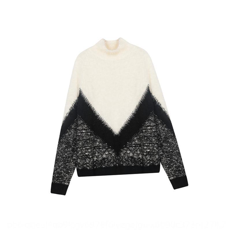 caeZA fadas estilo Semi-gola das mulheres vermelhas on-line inverno 2019 Outono e pullover Pullover Top Sweater New solta preguiçoso muito camisola w PWx7C