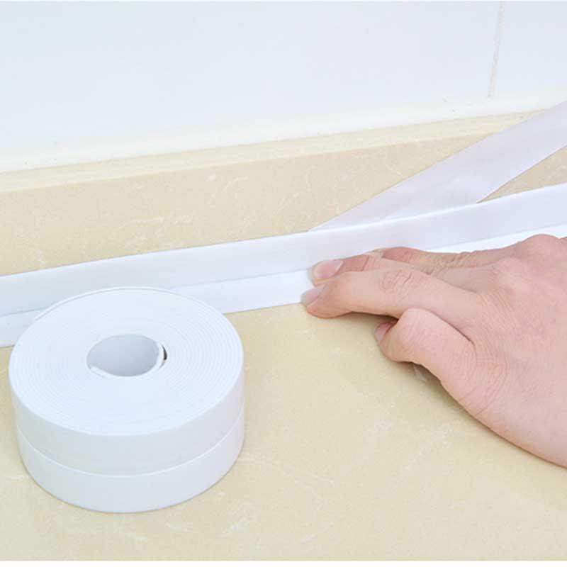 Self Adhesive Cozinha etiqueta cerâmico impermeável anti-umidade PVC adesivo de parede do banheiro Canto Linha Pia Adesivos