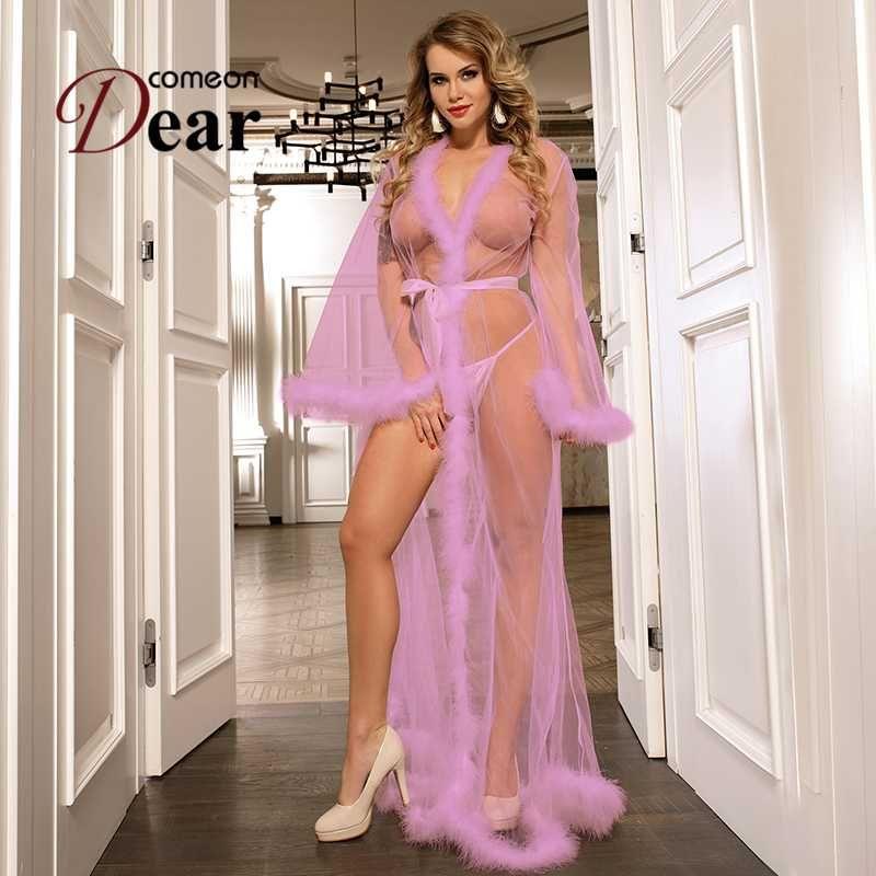 Viño largo y largas vestidos y túnicas para las mujeres La reina Perspectiva Sheer Sexy Women BabyDoll Lingerie Nightgown Vestido RB80759P