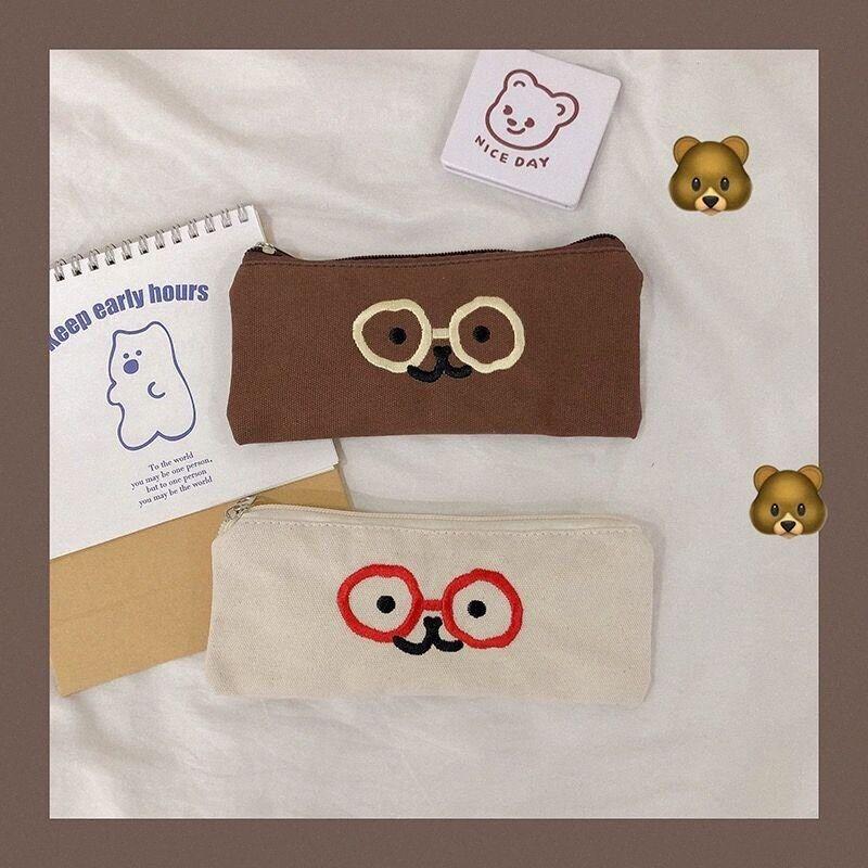 Bentoy MIlkjoy lienzo lápiz de la escuela pluma de la caja de Estudiantes Bolsa Marrón Blanco Ojos monedero Corea Japón lindo manera unisex lápiz Bolsas QOPs #
