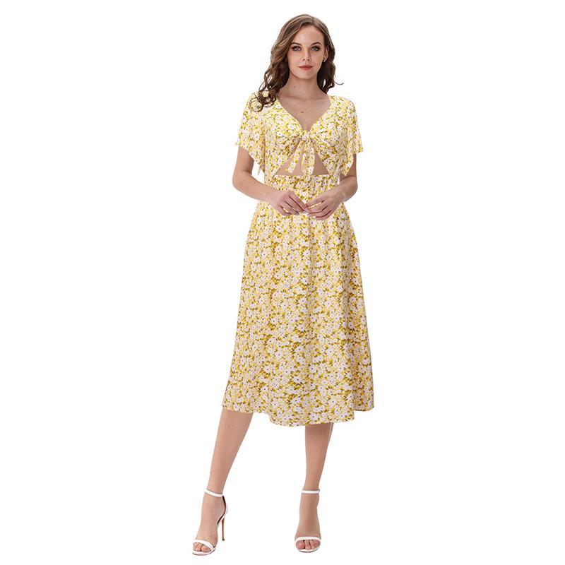Yeni Yaz çiçek kadınlar pruva delik elastik kısa kollu uzun midi plaj elbise vestidos kravat elbise