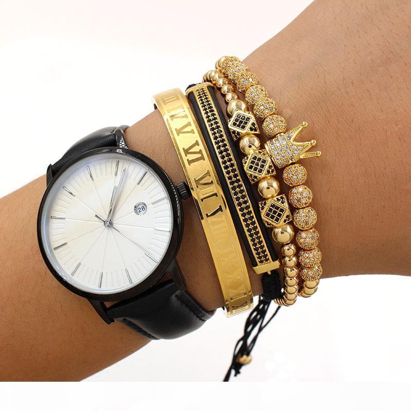 4tlg Set Roman Nummer Edelstahl-Armband Frauen Männer Paar Armband-Gold Crown Armband Modeschmuck
