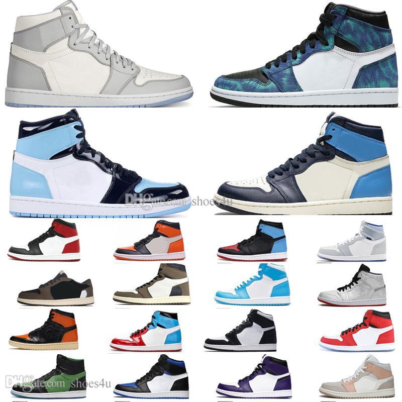 1 High Travis Scotts sapatos Baixa Destemido Panda Obsidian basquete masculino Racerl azul UNC 1s Chicago Banido formadores Bred homens Toe as sapatilhas das mulheres
