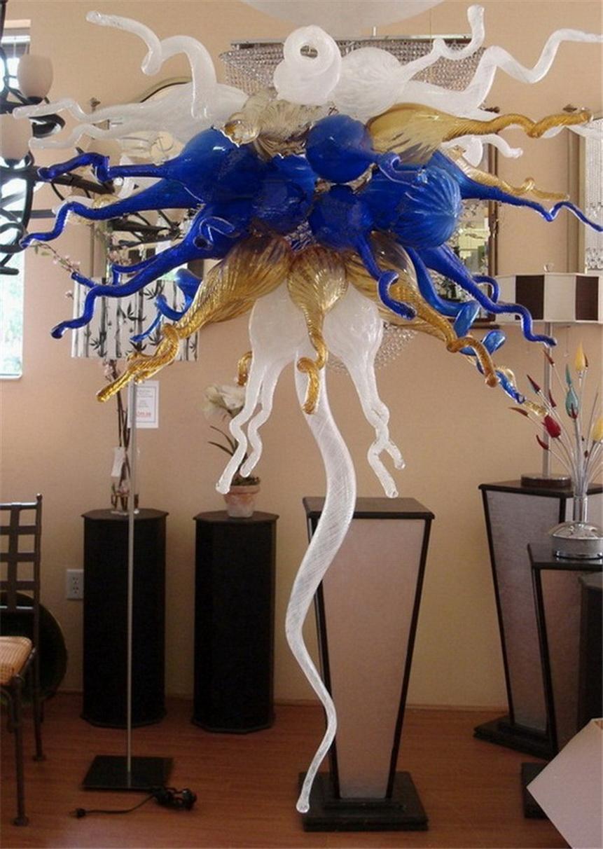 Fancy LED Pendelleuchten 100% Mund Hand geblasenem Glas Kronleuchter Tischplatte Hohe Chihuly Muranoglas-Kronleuchter Licht