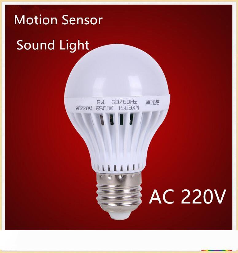 10шт E27 3W 5W 7W 9W Движение Датчик водить E27 шарика Звук + Свет Автоматическое управление Смарт двери ворота Лестницы датчик движения лампы
