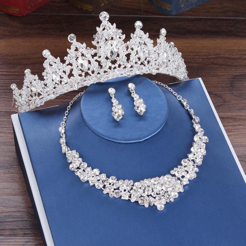 Costume de mariée Ensemble de bijoux en strass cristal d'argent Tiara Couronne Boucles d'oreilles pour mariage Couronne mariée Collier Bijoux Se strass Jewel nJe8 #