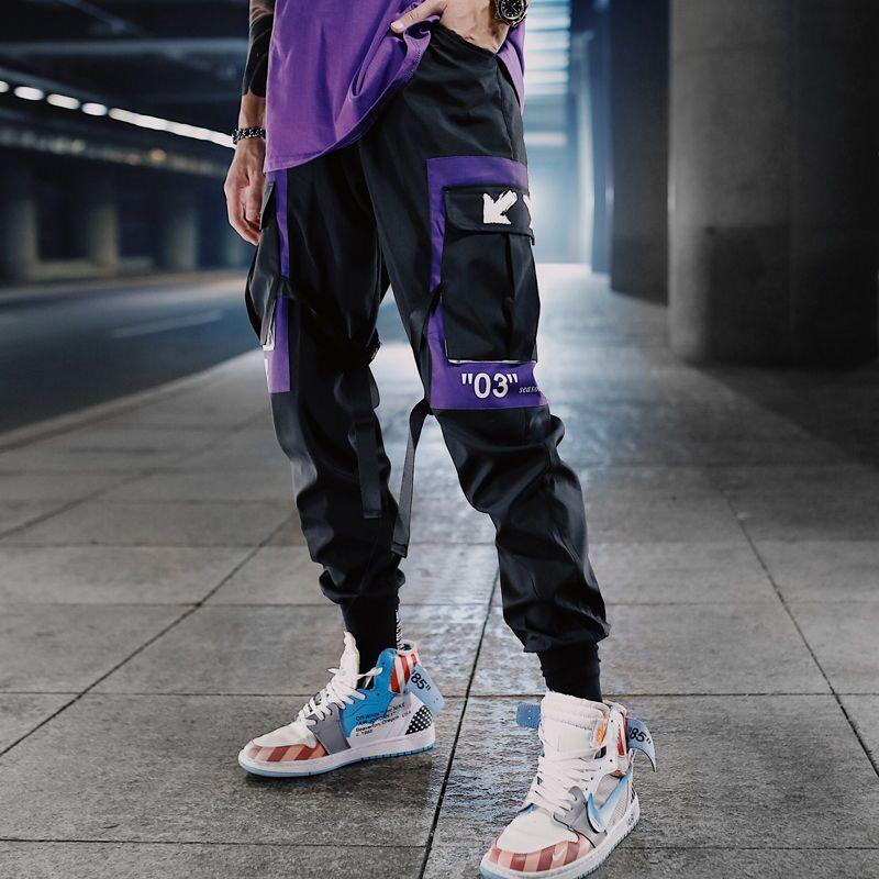 Man Pants Новая мода Streetwear Шитье Цвет Joggers Hip Hop Длинные штаны Мужчины Упругие талии Карго