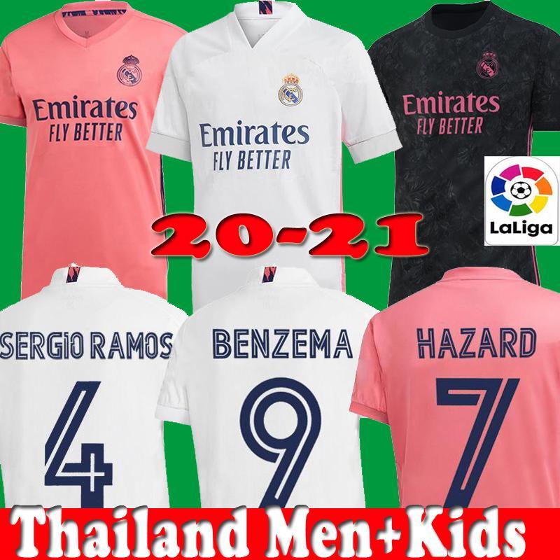 2020 2021 REAL MADRID jerseys 20 21 soccer jersey HAZARD SERGIO RAMOS BENZEMA VINICIUS camiseta football shirt uniforms men kids kit sets