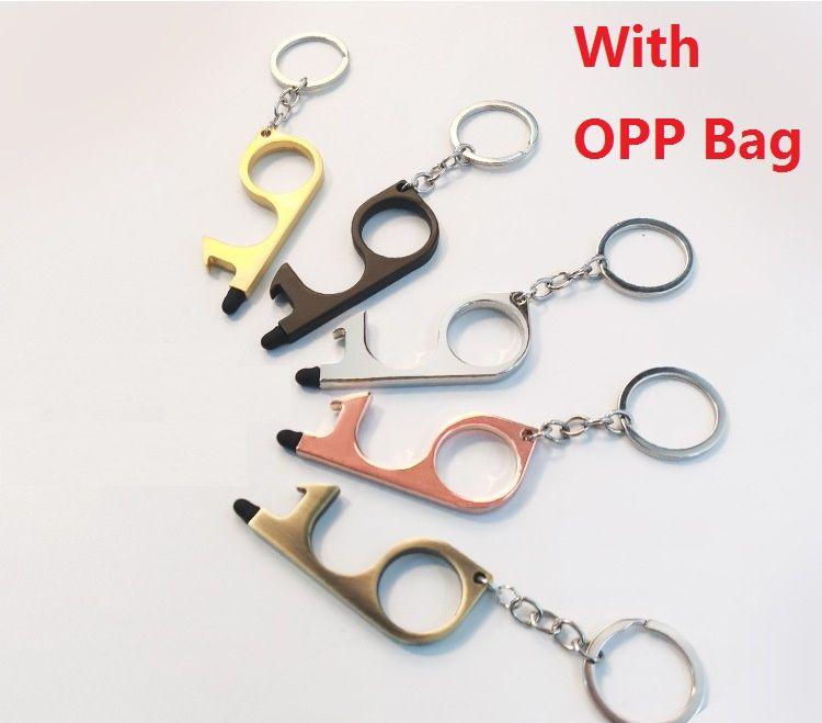 Bira şişe açacağı EDC Dokunmadan Kapı Açıcı Basın Asansör Button Tool Temassız El Pirinç EDC Anahtarlık Kolay OPP Bag ile Carry için