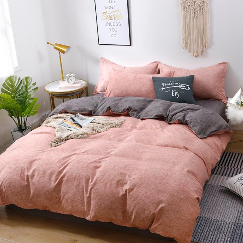 المنسوجات المنزلية الفراش مجموعات 5 حجم الوردي والرمادي الصيف ملاءات * 3 / 4PCS غطاء لحاف تعيين الرعوية ورقة السرير AB الجانبية غطاء لحاف