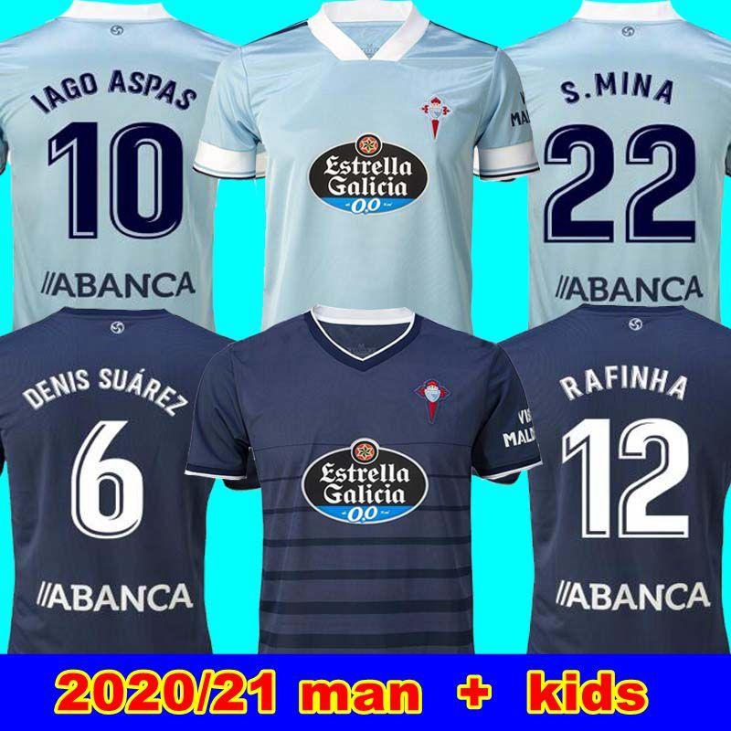 جديد 20 21 RC سيلتا فيغو كرة القدم جيرسي LOBOTKA ياغو أسباس SANTL MINA كرة القدم قميص SISTO BOUFAL اسبانيا 2020 21 سيلتا فيجو رجل + أطفال