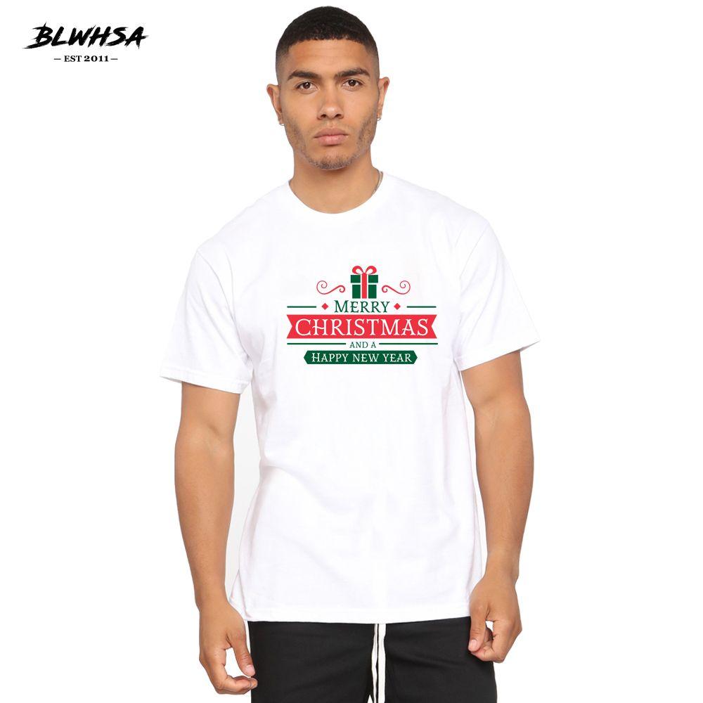 BLWHSH Weihnachten Gedrucktes T-Shirt der Männer Art und Weise 100% Baumwolle Cool T-Shirt Frohe Weihnachten und ein gutes neues Jahr Printing Herrenbekleidung