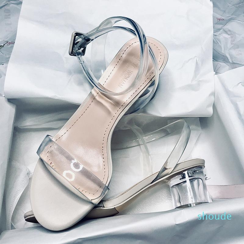 Sandali di modo delle donne di vendita calda estate nastro trasparente scarpe in PVC delle donne di Roma sandali tacco alto pattini delle donne open-toe