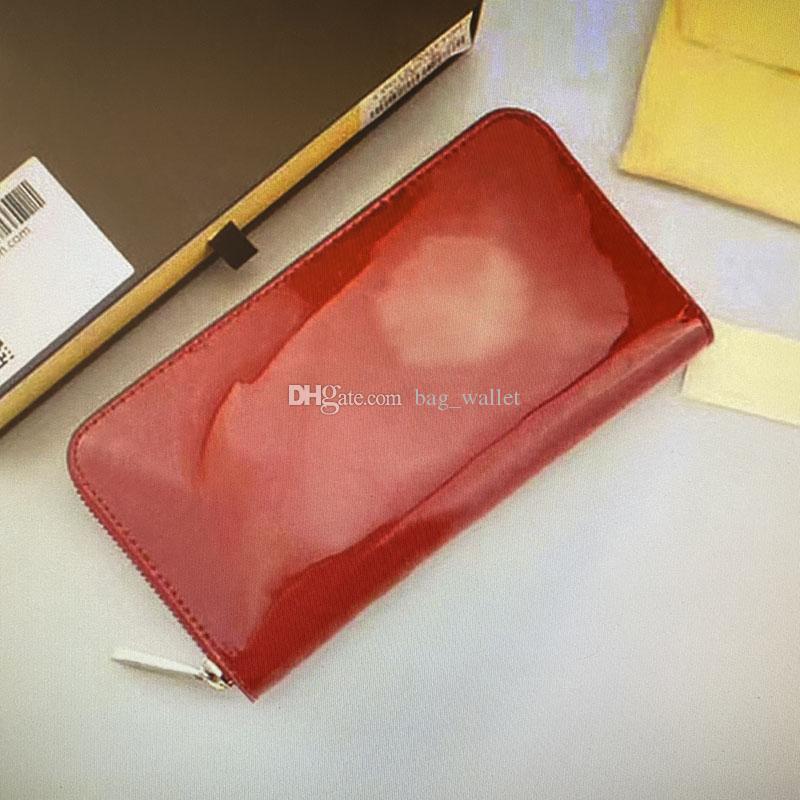 Großhandel Zippy Brieftasche Mono Vernis Leder Solide geprägte Patente Zipper Brieftaschen Kartenhalter Frauen Einzelne Reißverschluss Lange Brieftasche 90416 M90419