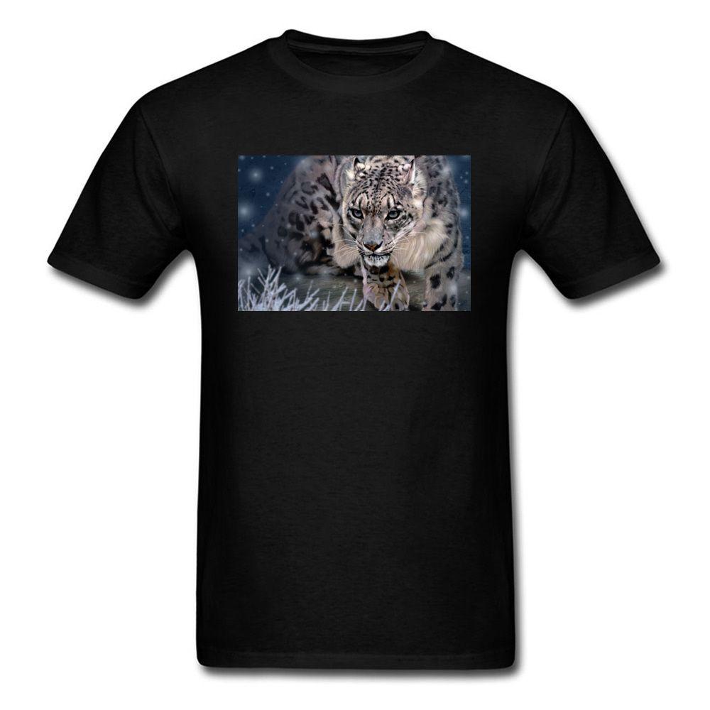 Moda Snow Leopard en el Hombre Negro camiseta de manga corta de algodón remata tes Ropa 3D Digital Print su propia camiseta