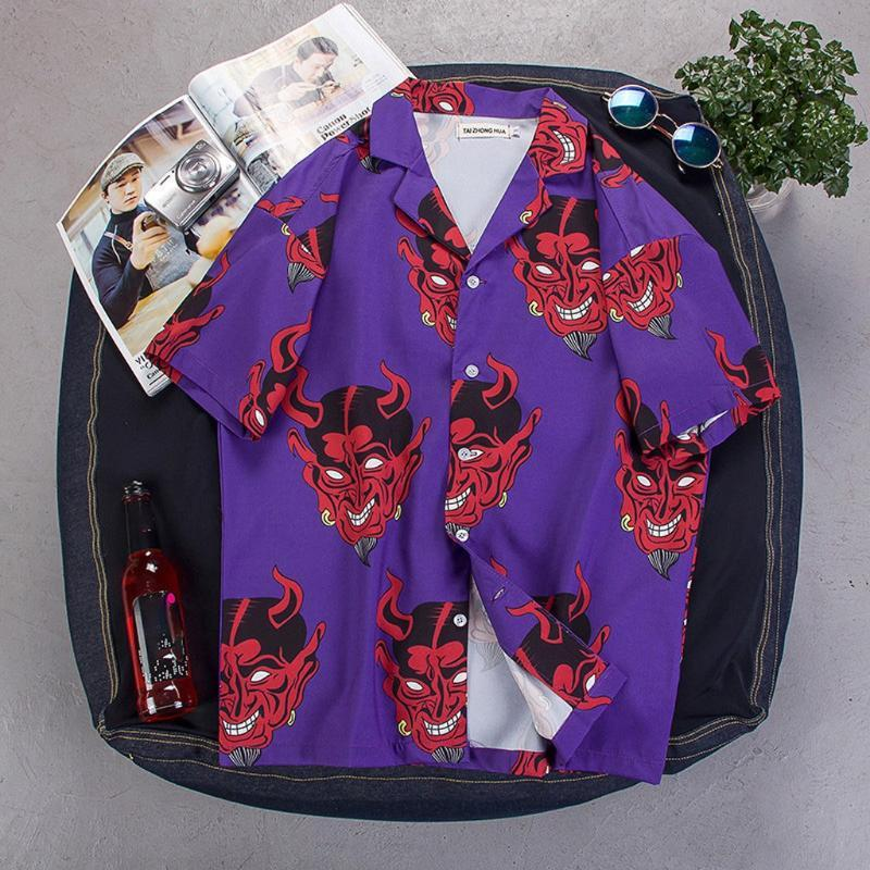 2020 남성 빈티지 퍼플 작은 악마 인쇄 셔츠 남성 여름 패션 셔츠 캐주얼 짧은 소매 비치 느슨한 캐주얼 탑