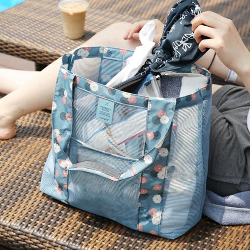 2019 bolsos de la playa Piscina para los zapatos de flores de almacenamiento de malla de asas de los bolsos de las mujeres del traje de baño al aire libre Recoger paquete de baño Neceser