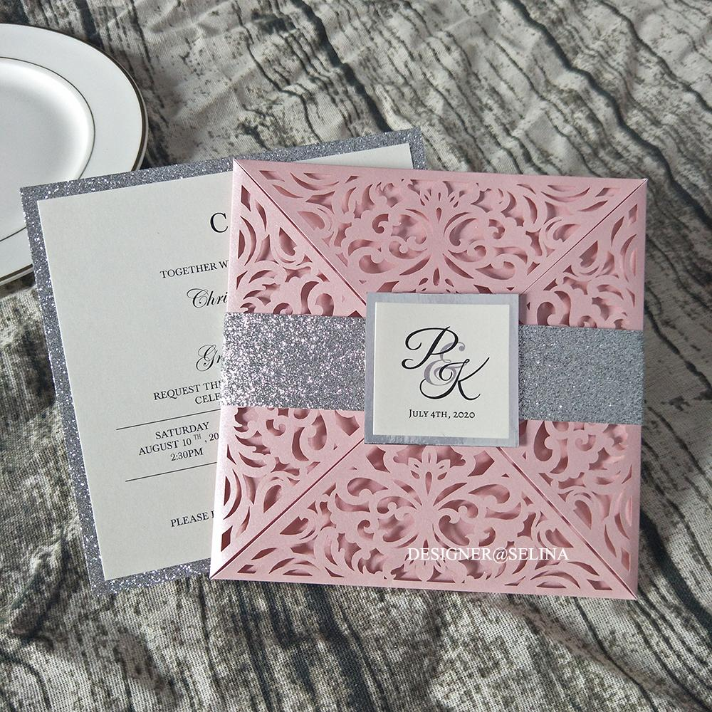 Customize Print Laser Cut Wedding Invitations with Glitter Belly Band and Tag Elegant Folded Invitation for Engagement Quinceanera Invites