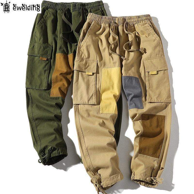Trend-Art-Männer gerade Hosen-Qualitäts-Männer Baumwolle Patchwork Pants große Tasche Casual Male
