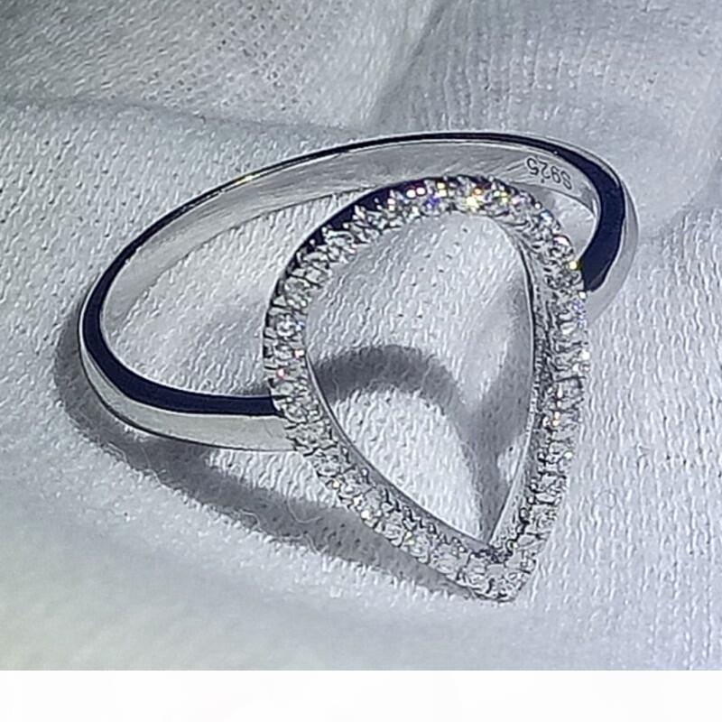 O Choucong neue Art und Weise aushöhlen Cz Zirkonia Birne Wasser-Tropfen-klassische Ring-Hochzeit Schmuck-Sekt 100% 925 Sterlingsilber-Ringe für