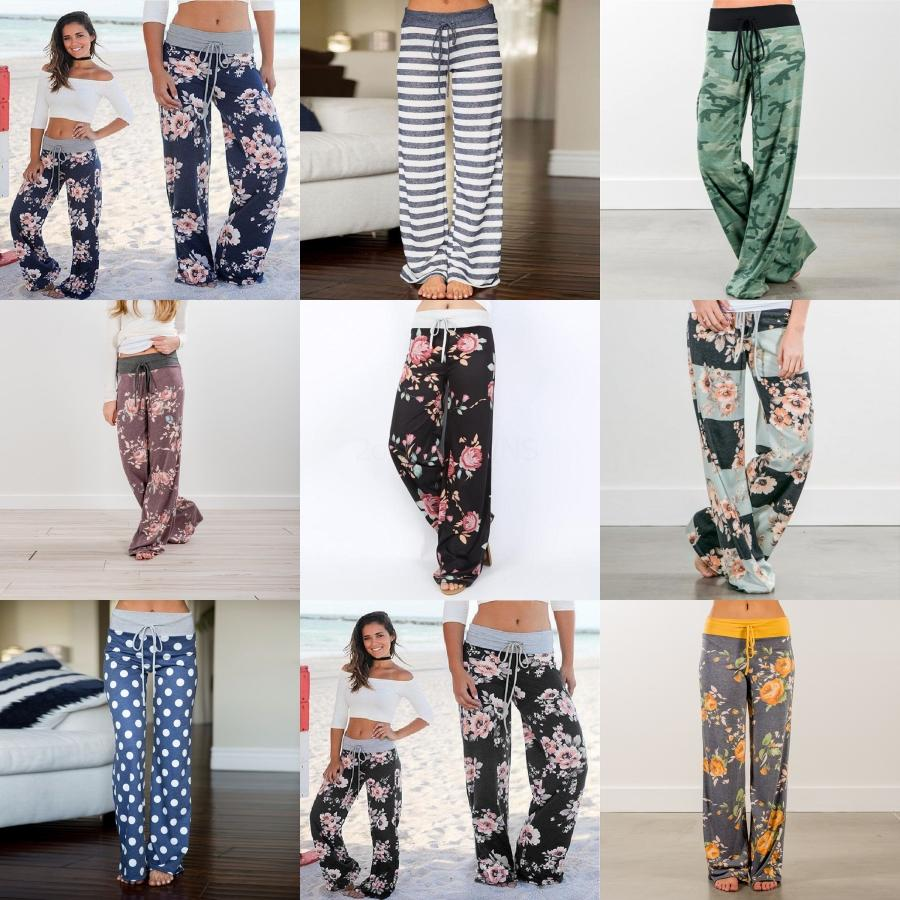 Women Vintage Totem Floral Print Wide Leg Pants Retro Cic Elastic Waist La Up Trousers Patcwork Pantalones Mujer Pants#647