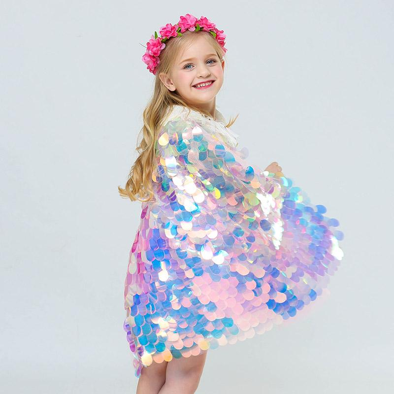 Kids Mermaid Sequin Cape Cosplay Baby Girls Glittering Princess Cloak Children Halloween Christmas Party Costume Clothing DHL SHip WX9-1480