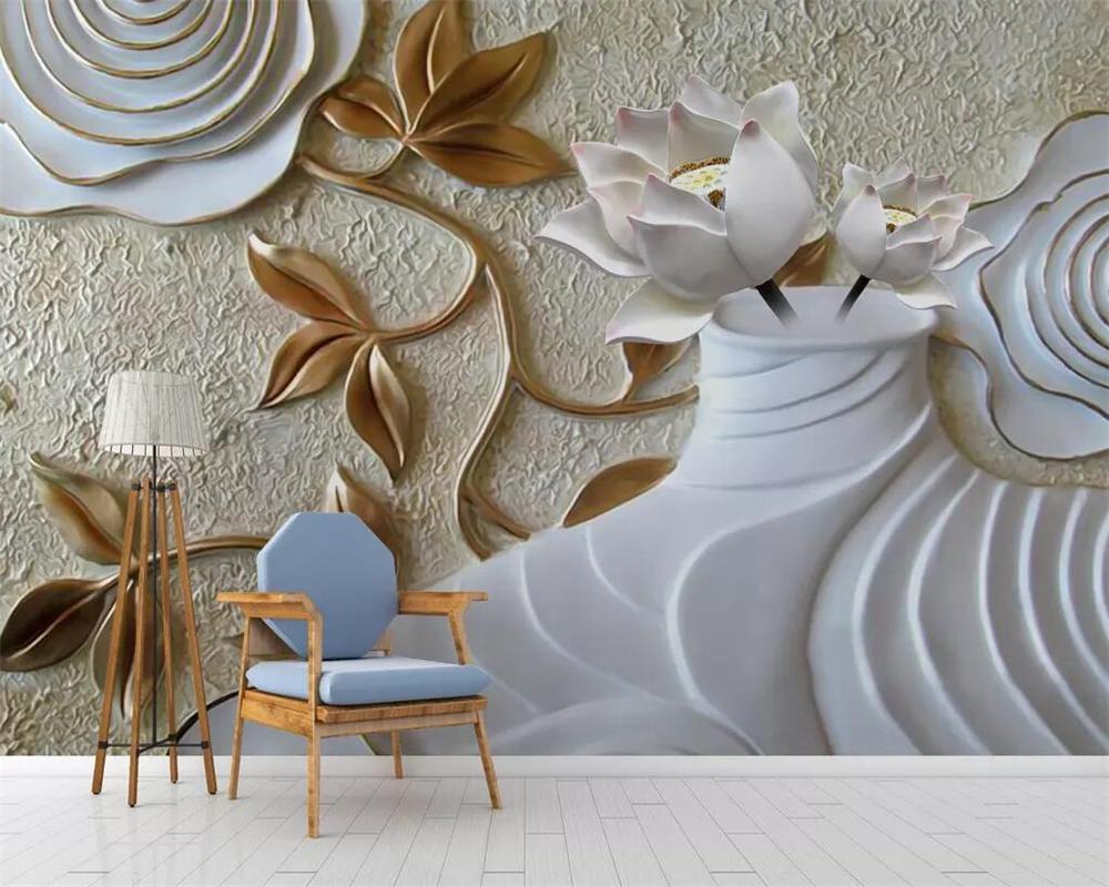 beibehang personnalisé lotus vase papier peint rose peinture murale décoration relief papier mural TV salon chambre papier peint pour mur 3 d