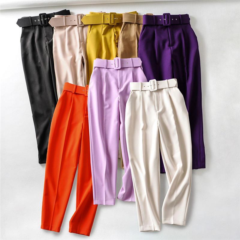 Kadın Pantolon Capris Moda Rahat Takım Elbise Kadın Vintage Ofis Bayanlar Yüksek Bel Pantolon Mujer Streetwear Kadın Katı Renk Q2862