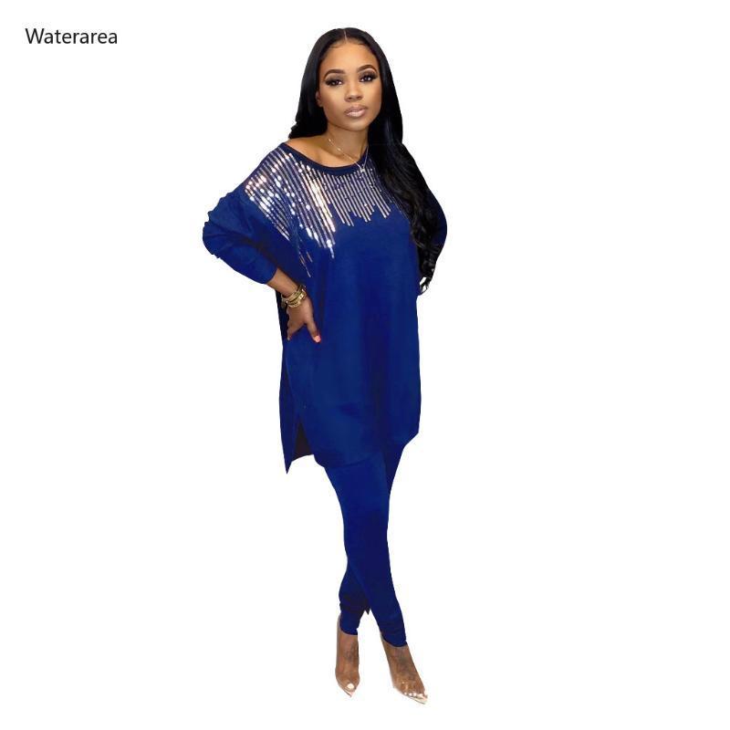 2020 Mulheres Sequins emenda Two Piece Set Sporting Treino O-pescoço T-shirt longo da luva Top Pants Suit 2 Piece Set Outfits