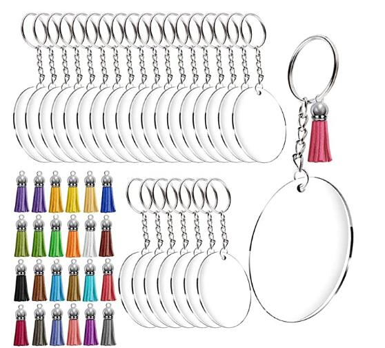 NiceCo Akrilik Anahtarlık Boşluklar, / Metal Bölünmüş Anahtarlık Yüzük w Şeffaf Yuvarlak Akrilik Şeffaf Diskler Çemberleri, Renkli Püskül Kalem