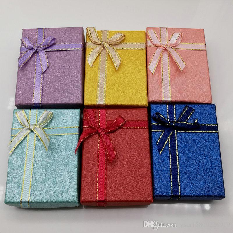 16 PCS freies Verschiffen 7 * 5 * 2 cm gelegentliche Mischungsfarbe Halskette Ohrringe Ring Papier Geschenk-Boxen, Weihnachten Geschenk-Box / Weihnachtsfeier Jude