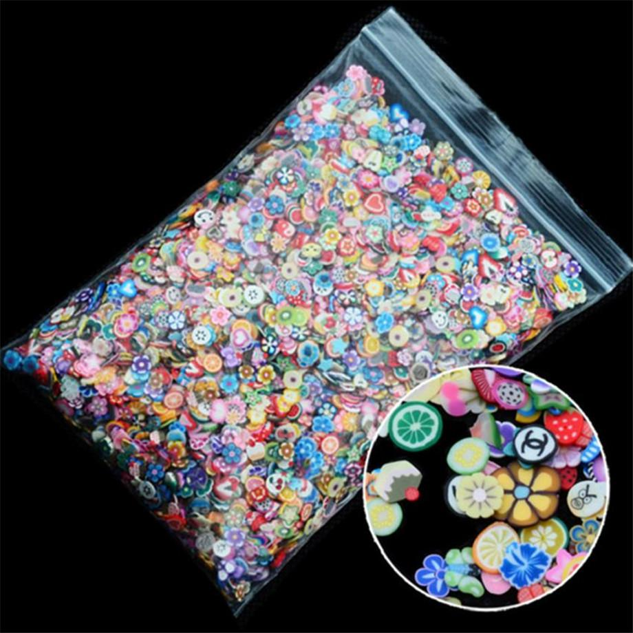 1000pcs/pack Nail Art Fruit Flowers Feather DIY Design Fimo Cane Slices Decoration Acrylic Beauty Polymer Clay Nail Sticker Tool
