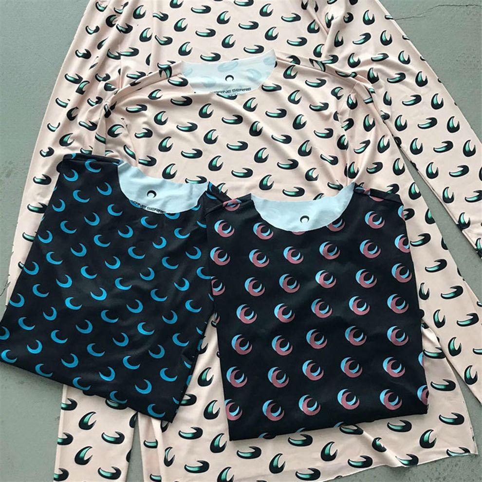 OLewx Loog la media manga que basa la Serre mujeres de la camiseta de alta calidad de superposición Marina Luna Tight Top Tees niña Marina Serre camiseta