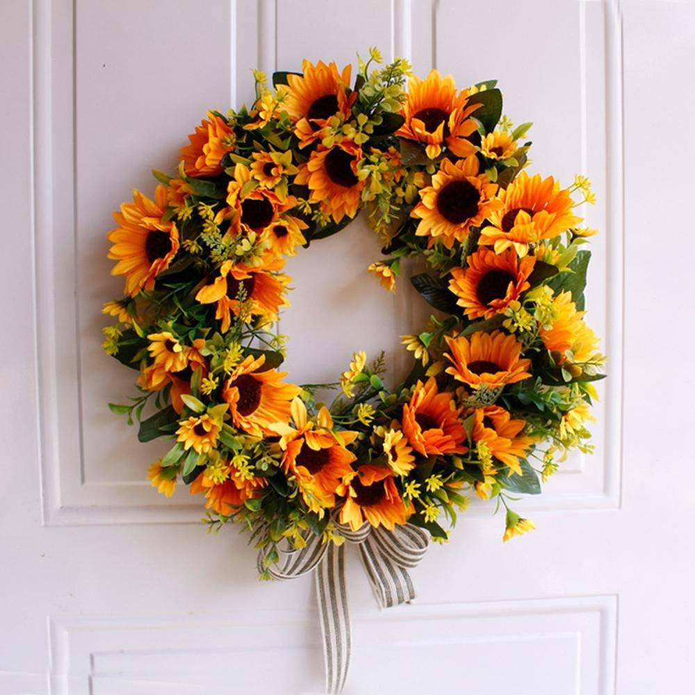 2020 16 Artificial Sunflower Wreath Flower Wreath Yellow Flower Door Summer Wreaths For Front Door With Green Leaves Spring Vcog From Walmarts 20 18 Dhgate Com