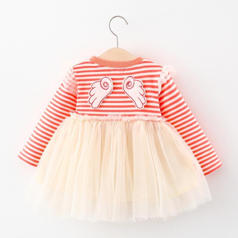 Mädchen gestreiftes Kleid 2020 Herbst Stil Kleinkind-Mädchen Kleidung Langarm-Kleid-Kind-Flügel-Kleidung-Kind-Baby-Ineinander greifen