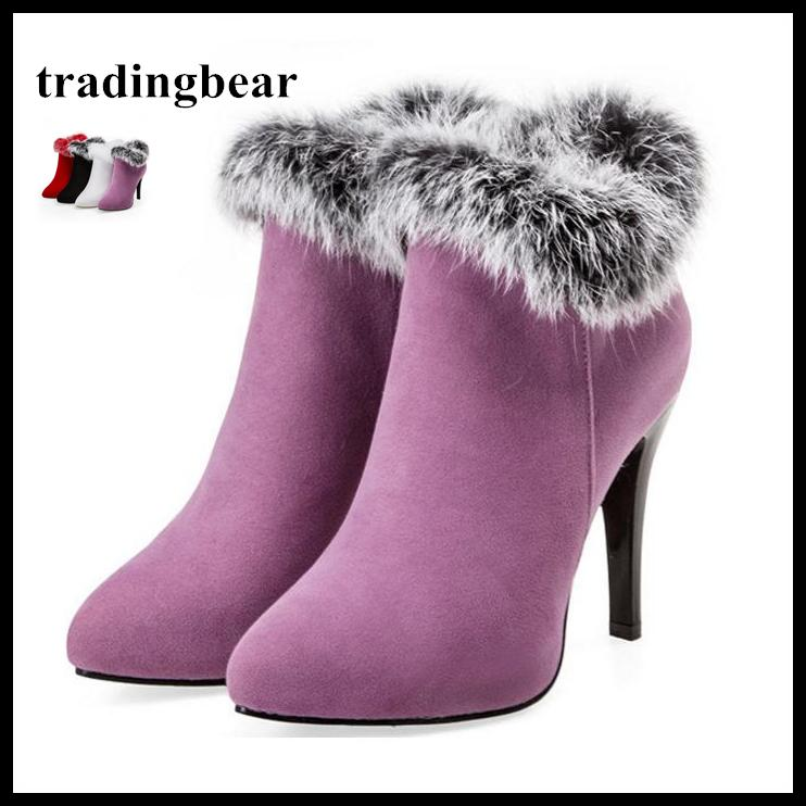 Keep Warm White Fur Boots Winter Ankle Boots For Wedding Party Plus Size 33 34 to 40 41 42 43 Women High Heel Shoes 4 Colors