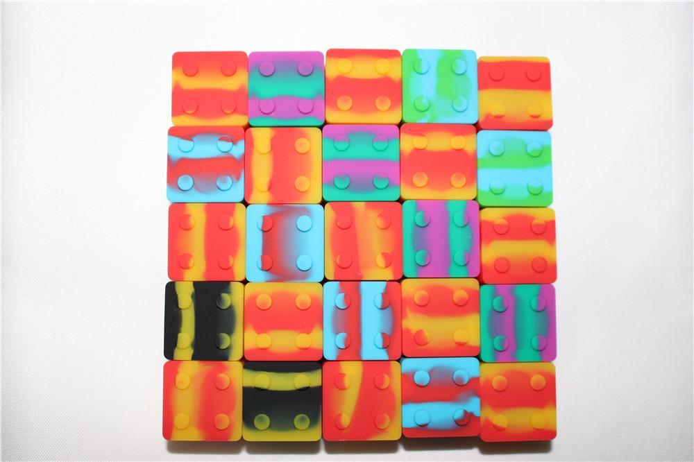 مربع سيليكون كومة النفط BHO حالة بقعة ليغو على شكل حاوية 9ML مربع السيليكون الداب الشمع جرة تخزين مركزات الشمع وBHO